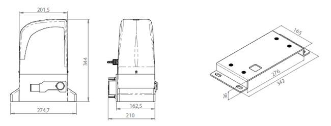 Διαστάσεις συρόμενου μηχανισμού SLIDE 800A